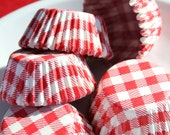 Mini Red Gingham Check Cupcake Liners, Cake Pop or Candy Cups (140)