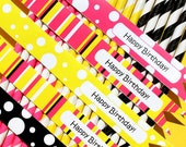 Stripe Paper Straws - Hot Pink, Black, Yellow with DESIGNER Printable DIY Happy Birthday Flag Toppers (30 count)