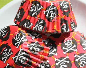 Pirate Party Cupcake Liners, Skull and Cross Bone Cupcake Liners, Pirate Cupcake Liners, Muffin Cups, Foil Lined Cupcake Liners
