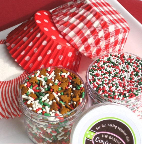 Christmas Gingerbread Cupcake Kit with Cupcake Liners, Gingerbread  Man Sprinkles and Holiday Non Pareils - SALE