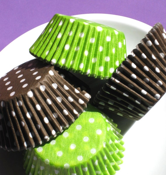 Lime and Brown Polka Dot Cupcake Liner Combo Pack (100)