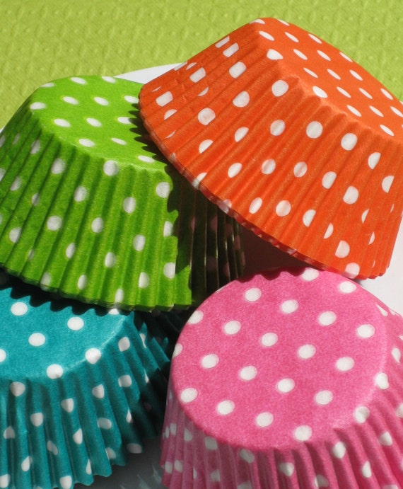Polka Dot Cupcake Liners - Summer Fun Collection - in Lime, Pink, Orange, Jade Green (72)