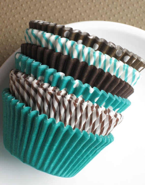 Brown and Jade Green Cupcake Liners in Solids, Stripes and Polka Dots (Bulk 216 Count)