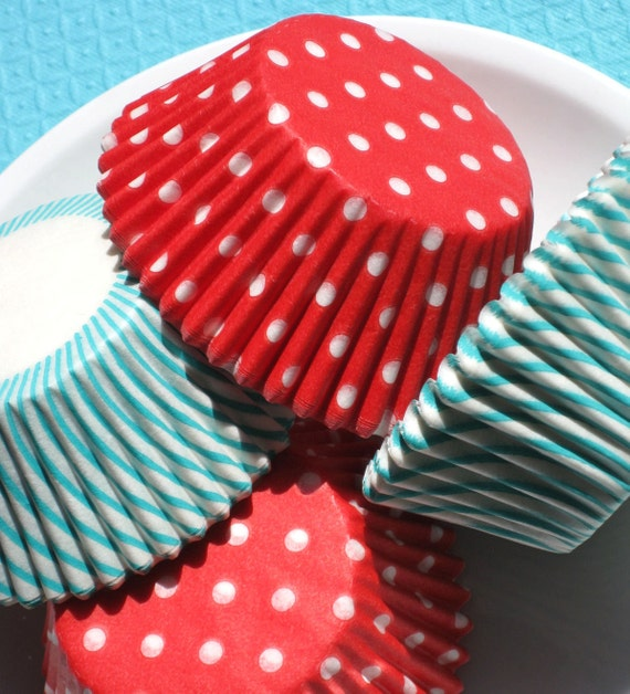 Cupcake Liners in Jade Stripe and Red Polka Dot - Sail Away Collection (100 count)