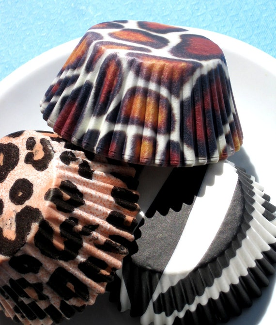 Animal Print Cupcake Liners with Black Zebra, Giraffe and Leopard (60)