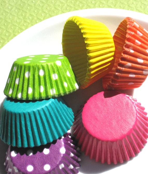 Mini Girls Rainbow Cupcake Liners - 6 Colors in Dots and Solids (120 count - 20 each)