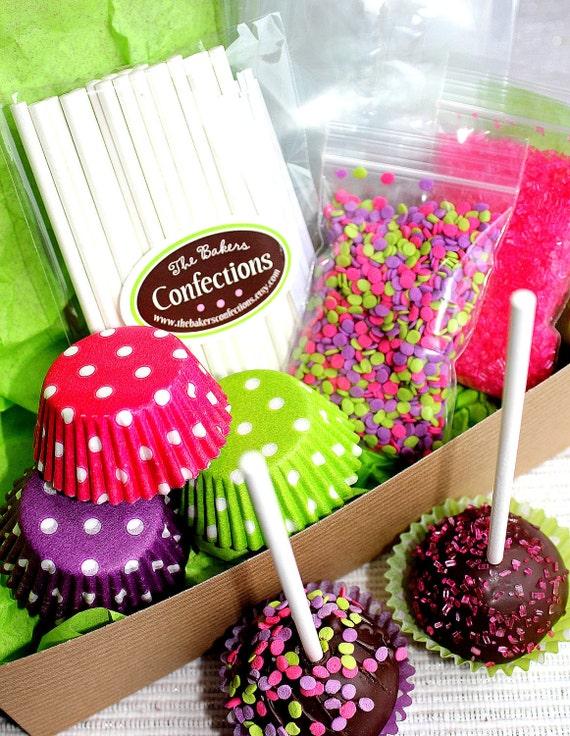 girls neon fun cake pop decorating kit gift boxed supplies. Black Bedroom Furniture Sets. Home Design Ideas