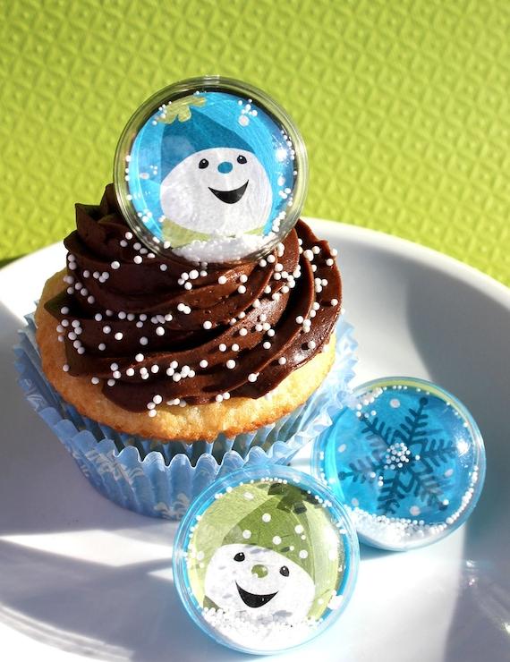 Snowglobe Snowman - Snowflake Cupcake Topper Rings (set of 12) SALE