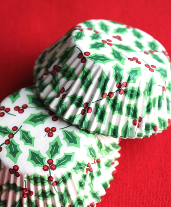 Pretty Christmas Holly Cupcake Liners, Holiday Baking Cups (50 count) SALE