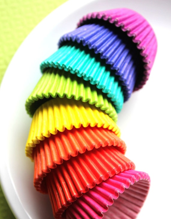 Mini Solid Cupcake Liners, Candy Cups - 8 color pack (160 count - 20 of each)
