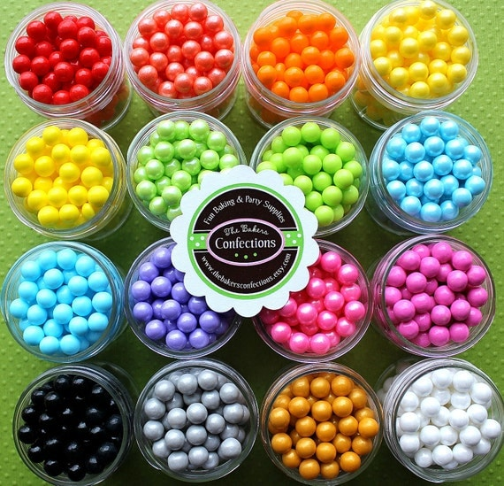 Sugar Pearls Sprinkles - PICK 6 COLORS (6 mini jars)