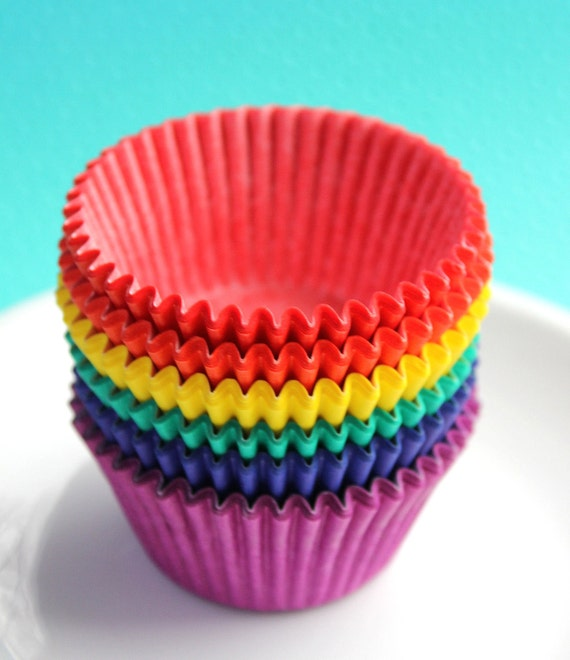 Classic Rainbow Cupcake Liners - 6 colors in solids (60 count)
