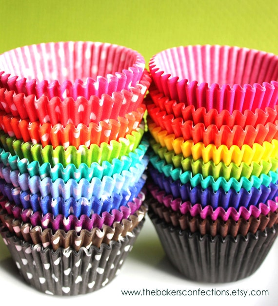 Rainbow Cupcake Liners - Standard Size in Solids  and Dots - ALL Colors (20 of each color and style) SAVE