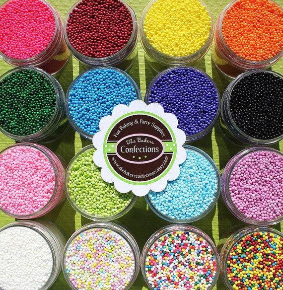 Non Pareil Sprinkles - PICK 3 COLORS (3 medium 2 oz jars)