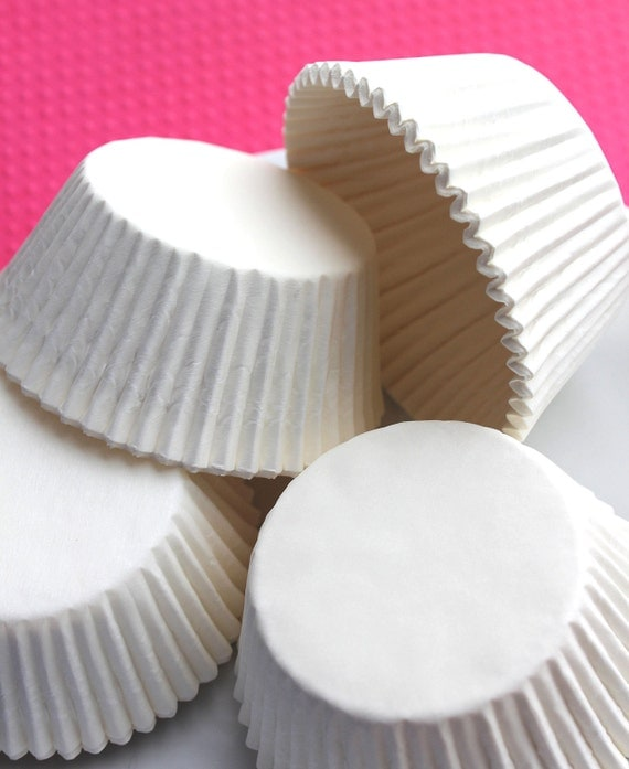 White Silicone Lined Cupcake Liners, Baking Cups (50)