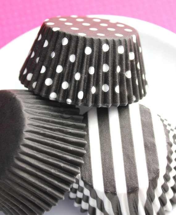 Assorted  Black Cupcake Liners in Solid, Dot, Wide Stripe (120 count)