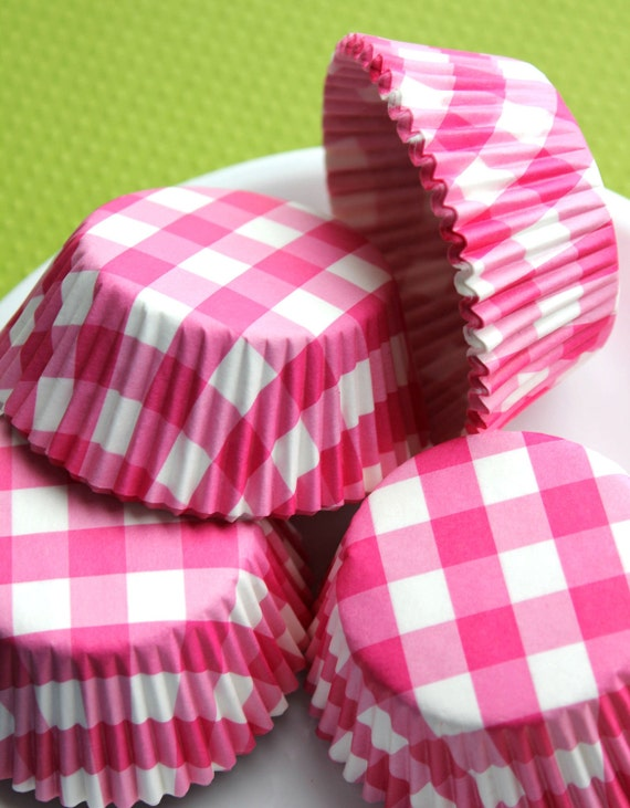 Pink Check Cupcake Liners (100 count) CLOSEOUT SALE