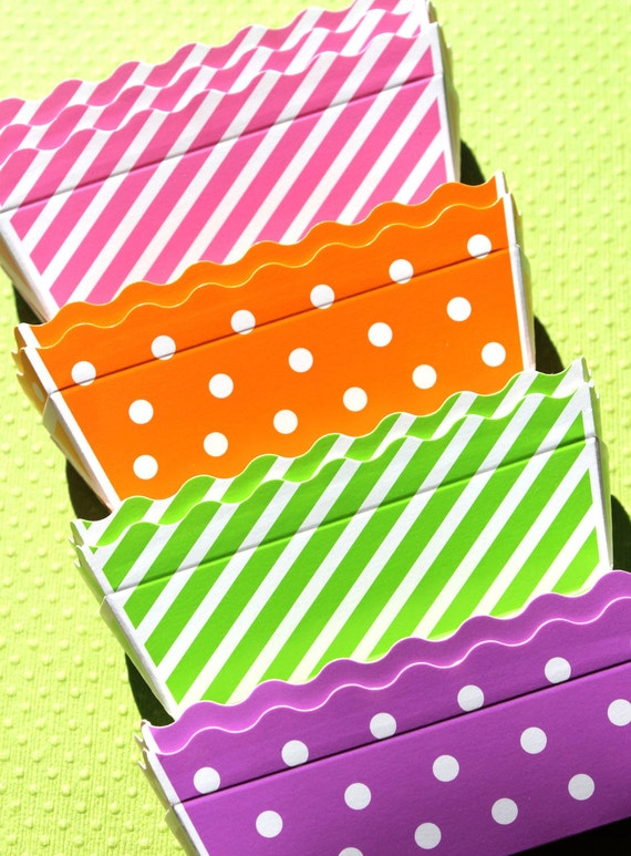 Mini Paper Loaf Baking Pans In Stripes And Dots Sherbet