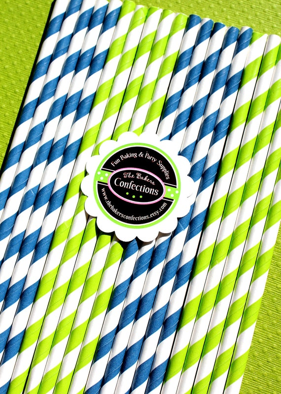 Paper Straws - Navy Blue and Lime Stripes with Printable DIY Flag Toppers - Drink Makers(30 count)