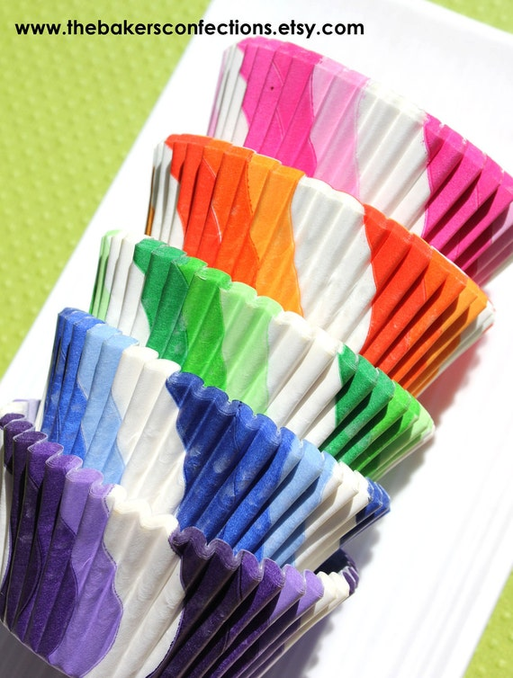 Rainbow Lollipop Cupcake Liners, Baking Cups - 5 color pack (100 count - 20 of each color) LAST SET