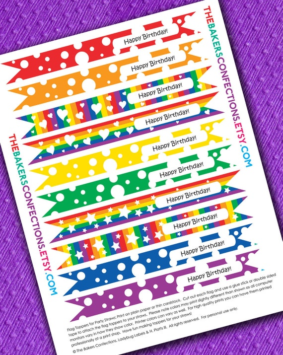 PRINTABLE Happy Birthday Rainbow Straw Flag Toppers for Paper Straws, Cupcakes - DIY - Classic Rainbow Colors - Instant Download