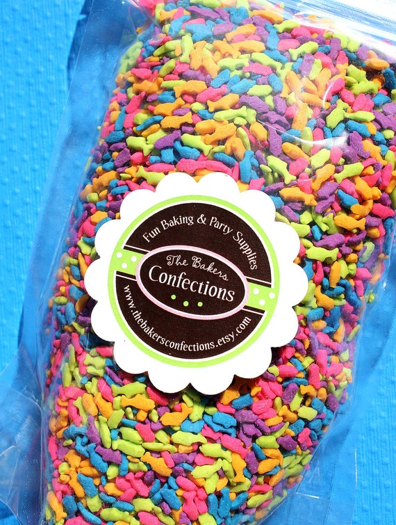Bright Fish Sprinkles for Cupcakes, Cookies, Cake Decorating (LARGE JAR) Closeout SALE