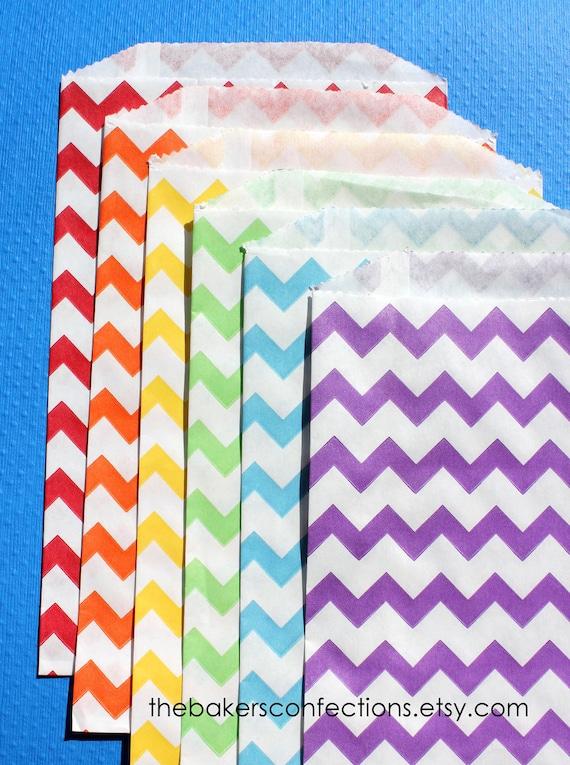 Boys Rainbow Chevron Paper Favor Bags - 6 color set of MEDIUM bags (set of 18 - 3 each color)