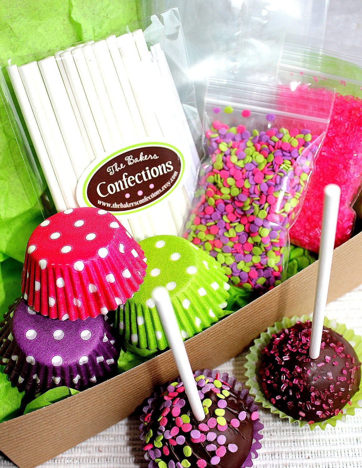 Girls neon fun cake pop decorating kit gift boxed supplies for Pop cake decoration