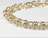 Silver and Gold Barrel Chain Bracelet - 14k Gold Filled And Sterling Silver Barrel Chainmaille Bracelet