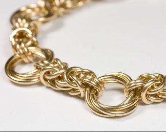 14k Gold Fill Byzantine Love Knots Chainmaille Bracelet