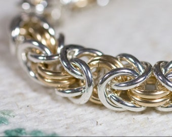 14k Gold Fill And Sterling Silver Medium 14g Byzantine Chainmaille Bracelet
