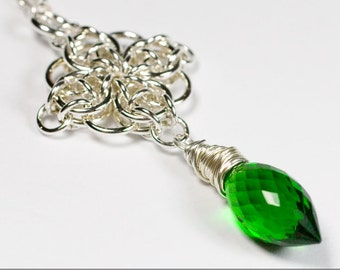 Celtic Star Green Quartz Dagger Pendant Sterling Silver