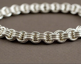 Thick Men's Chain Bracelet - 3 in 3 Sterling Silver Chainmaille Bracelet