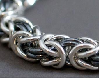 Thick Black and White Bracelet Handmade 12g Bold Byzantine Sterling Silver Bracelet