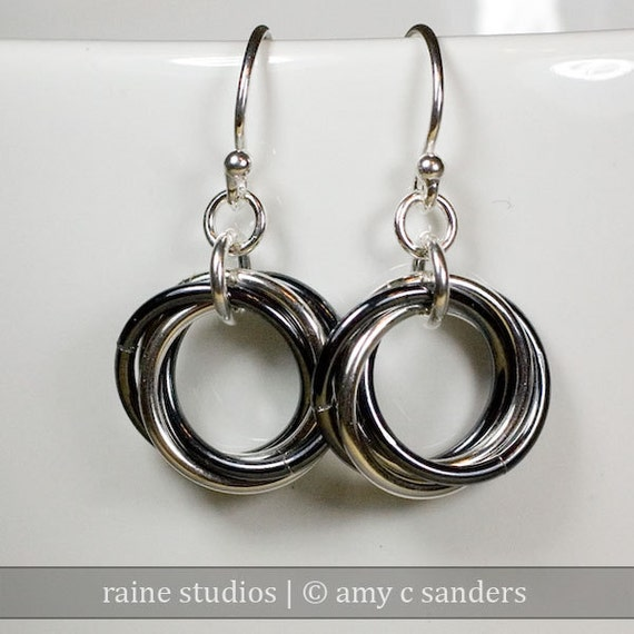 Yin Yang Sterling Silver Infinity Love Knot Chainmaille Earrings Mobius Chain maille