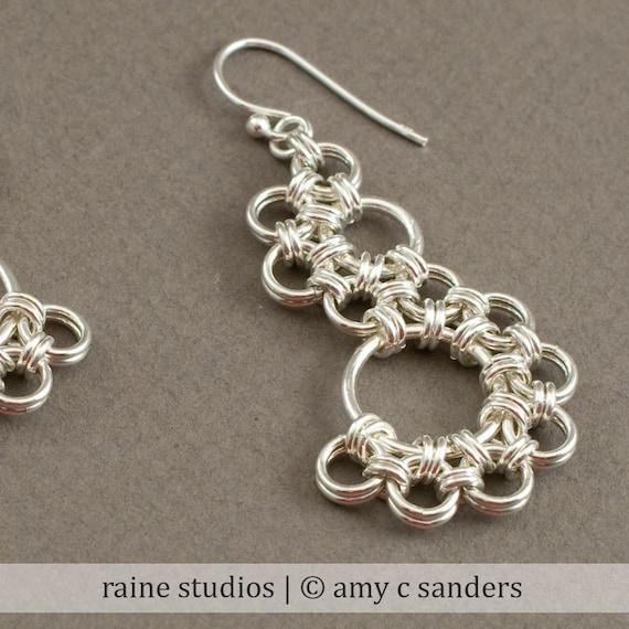 Shenandoah Earrings. Sterling silver chainmaille earrings.