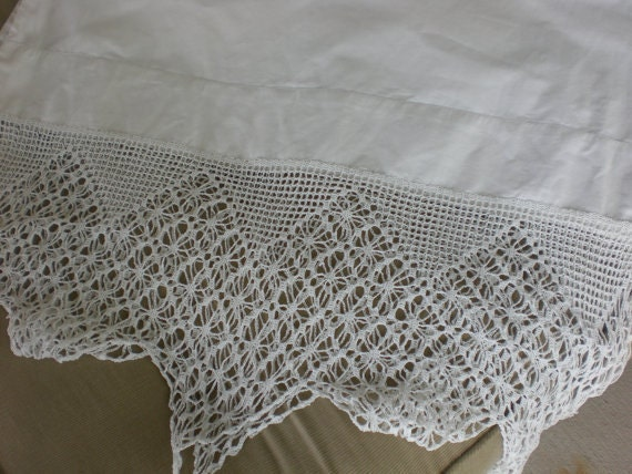 Vintage White Cotton Pillowcase With Extra Wide Crochet