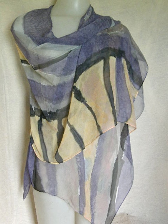 Dramatic Flare in hand painted silk chiffon