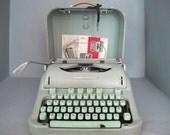 Vintage Mint Green Hermes 3000 Portable Typewriter, Case with Key & Manual, RARE Cursive Script Font / Mid Century Manual Typewriter