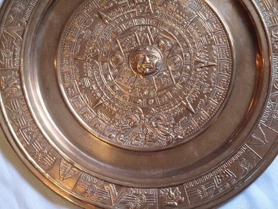 Year 2012 Is Equal 0000 Vintage Copper Aztec Mayan Calendar