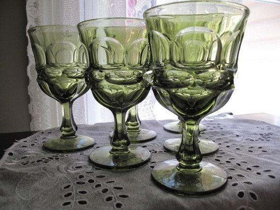 Vintage Six Avocado Green Drinking Glasses Heavy Pressed