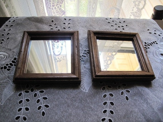 Vintage wall hanging mirrors 2 small square mirrors in for Small hanging mirror