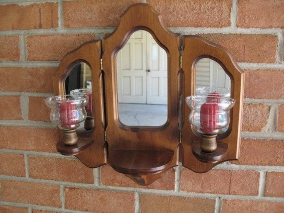 vintage decorative wood framed mirror candle holder wall. Black Bedroom Furniture Sets. Home Design Ideas
