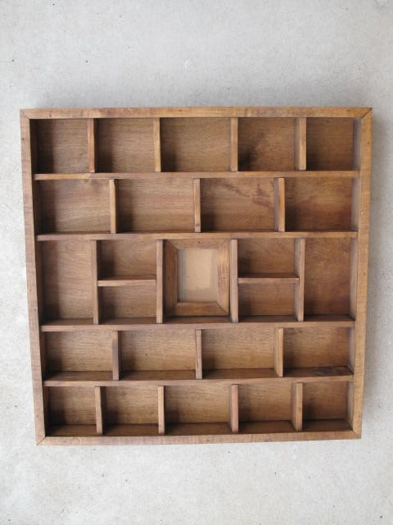 Vintage Decorative Wood Shadow Box Tray 25 Compartments