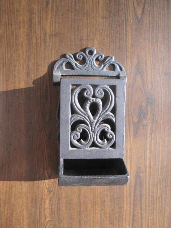 Vintage Cast Iron Match Box Holder Wall Mount By