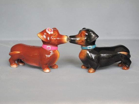 Vintage Dachshund Salt And Pepper Shakers Ceramic Wiener Dog
