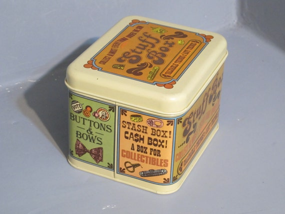 Vintage Cheinco Advertising Tin / Stuff Box Collect Almost Everything Under The Sun Trinket box, Metal Container, Recipe Retro Box Organizer