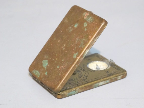 Vintage RARE Brass Sun Watch & Compass / Pocket Size Sunwatch / Antique 1920's Sundial, Pocket Watch, Nature Lover Accessory