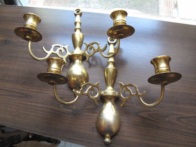 Candelabra Wall Lights : RESERVED///Solid Brass Candelabra Wall Sconce-Set of