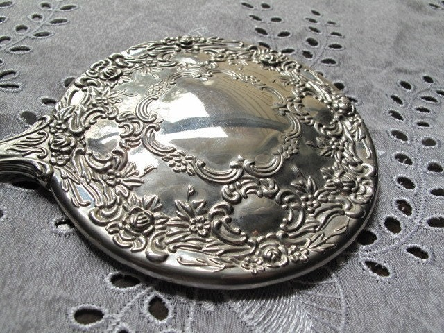 Victorian Silver Hand Held Mirror Vanity Mirror By